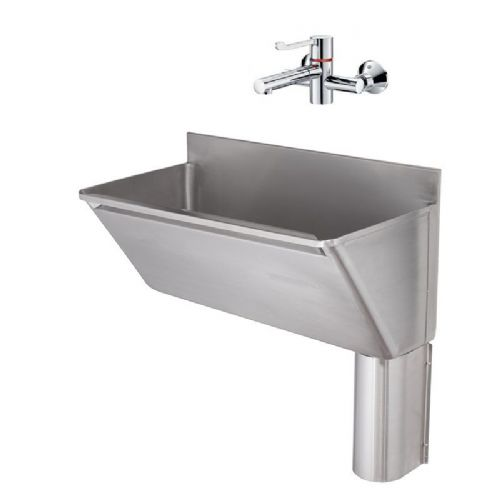 Franke G22029R 800mm Stainless Steel Surgeons Scrub-Up Trough with Right-Hand Outlet